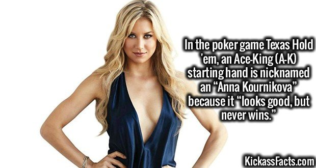 """In the poker game Texas Hold 'em, an Ace-King (A-K) starting hand is nicknamed an """"Anna Kournikova"""" because it """"looks good, but never wins."""""""