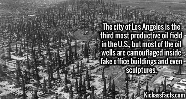 The city of Los Angeles is the third most productive oil field in the U.S., but most of the oil wells are camouflaged inside fake office buildings and even sculptures.