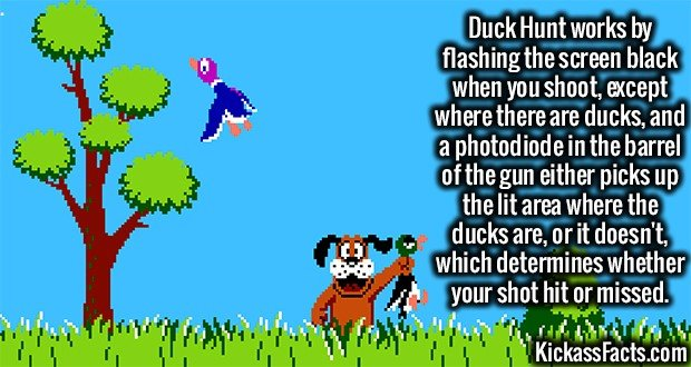 Duck Hunt works by flashing the screen black when you shoot, except where there are ducks, and a photodiode in the barrel of the gun either picks up the lit area where the ducks are, or it doesn't, which determines whether your shot hit or missed.