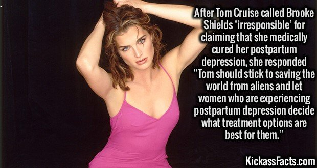 """After Tom Cruise called Brooke Shields 'irresponsible' for claiming that she medically cured her postpartum depression, she responded """"Tom should stick to saving the world from aliens and let women who are experiencing postpartum depression decide what treatment options are best for them."""""""