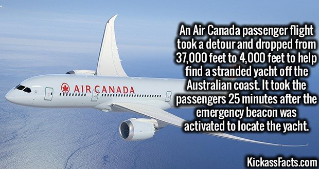 An Air Canada passenger flight took a detour and dropped from 37,000 feet to 4,000 feet to help find a stranded yacht off the Australian coast. It took the passengers 25 minutes after the emergency beacon was activated to locate the yacht.