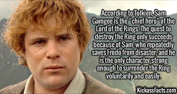 """2064 Sam Gamgee-According to Tolkien, Sam Gamgee is the """"chief hero"""" of the Lord of the Rings. The quest to destroy the Ring only succeeds because of Sam, who repeatedly saves Frodo from disaster, and he is the only character strong enough to surrender the Ring voluntarily and easily."""
