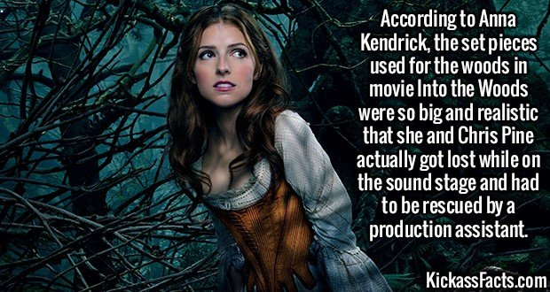 2065 Anna Kendrick-According to Anna Kendrick, the set pieces used for the woods in movie Into the Woods were so big and realistic that she and Chris Pine actually got lost while on the sound stage and had to be rescued by a production assistant.