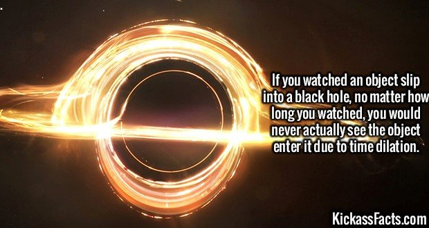 2067 Black hole time dilation-If you watched an object slip into a black hole, no matter how long you watched, you would never actually see the object enter it due to time dilation.