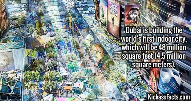 2079 Dubai Indoor City-Dubai is building the world's first indoor city, which will be 48 million square feet (4.5 million square meters).