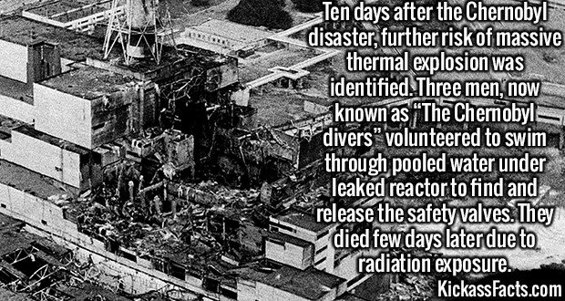 "2088 Chernobyl Disaster-Ten days after the Chernobyl disaster, further risk of massive thermal explosion was identified. Three men, now known as ""The Chernobyl divers"" volunteered to swim through pooled water under leaked reactor to find and release the safety valves. They died few days later due to radiation exposure."