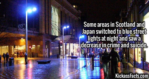 2101 Blue Street Lights-Some areas in Scotland and Japan switched to blue street lights at night and saw a decrease in crime and suicide rates.