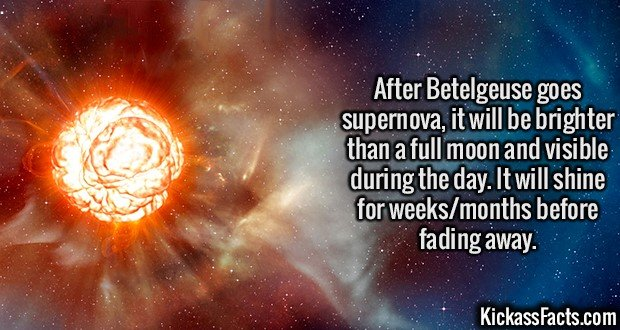 2115 Betelgeuse-After Betelgeuse goes supernova, it will be brighter than a full moon and visible during the day. It will shine for weeks/months before fading away.