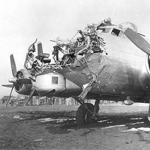 Flak damage completely destroyed the nose section of this Boeing B-17G, a 398th Bomb Group aircraft flown by 1Lt. Lawrence M. Delancey over Cologne, Germany. (U.S. Air Force photo)