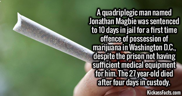 2085 Quadriplegic marijuana possession-A quadriplegic man named Jonathan Magbie was sentenced to 10 days in jail for a first time offence of possession of marijuana in Washington D.C., despite the prison not having sufficient medical equipment for him. The 27 year-old died after four days in custody.