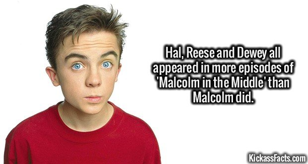 2087 Malcolm-Hal, Reese and Dewey all appeared in more episodes of 'Malcolm in the Middle' than Malcolm did.