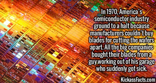2130 Semiconductor Wafers-In 1970, America's semiconductor industry ground to a halt because manufacturers couldn't buy blades for cutting the wafers apart. All the big companies bought their blades from a guy working out of his garage who suddenly got sick.