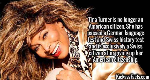 2132 Tina Turner-Tina Turner is no longer an American citizen. She has passed a German language test and Swiss history test and is exclusively a Swiss citizen after giving up her American citizenship.