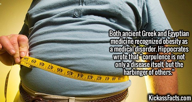 """2137 Obesity-Both ancient Greek and Egyptian medicine recognized obesity as a medical disorder. Hippocrates wrote that """"corpulence is not only a disease itself, but the harbinger of others."""""""