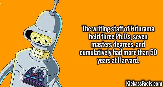 2153 Futurama-The writing staff of Futurama held three Ph.D.s, seven masters degrees, and cumulatively had more than 50 years at Harvard.