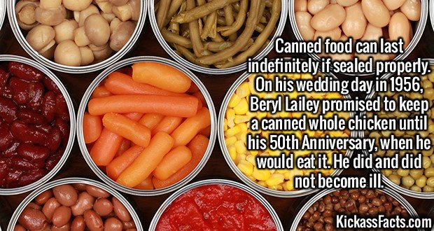2160 Canned food-Canned food can last indefinitely if sealed properly. On his wedding day in 1956, Beryl Lailey promised to keep a canned whole chicken until his 50th Anniversary, when he would eat it. He did and did not become ill.