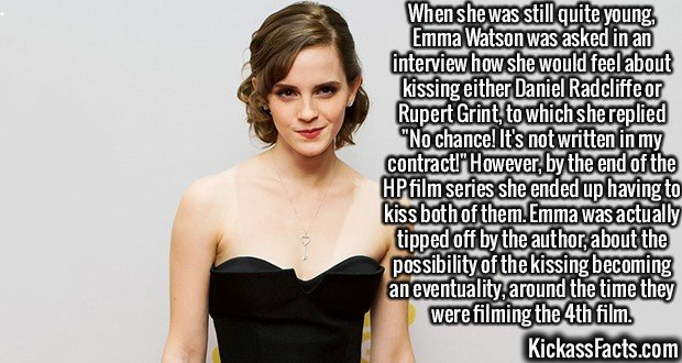 2168 Emma Watson-When she was still quite young, Emma Watson was asked in an interview how she would feel about kissing either Daniel Radcliffe or Rupert Grint, to which she replied