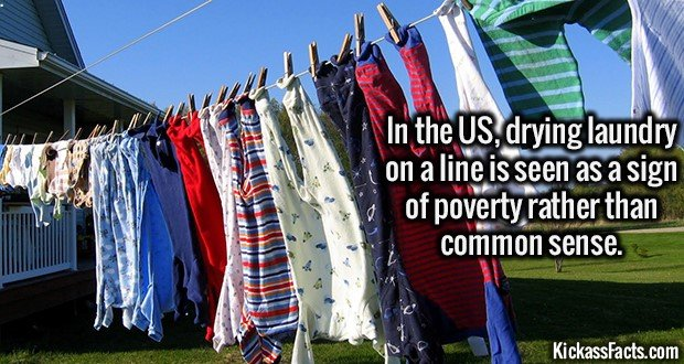 2192 Laundry Line-In the US, drying laundry on a line is seen as a sign of poverty rather than common sense.
