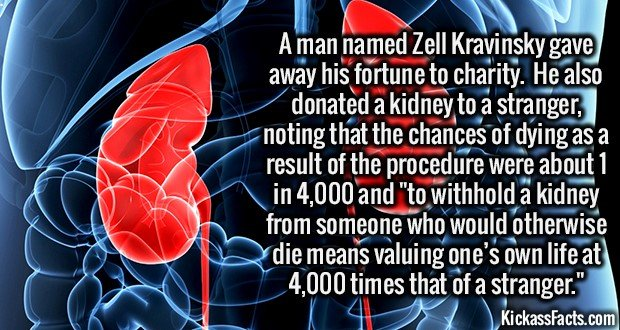 2204 Zell Kravinsky-A man named Zell Kravinsky gave away his fortune to charity.  He also donated a kidney to a stranger, noting that the chances of dying as a result of the procedure were about 1 in 4,000 and