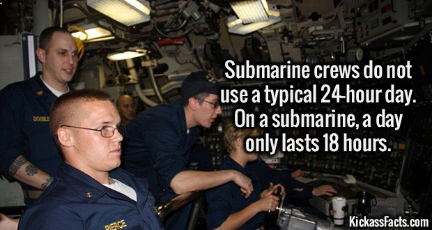 2212 Submarine Day-Submarine crews do not use a typical 24 hour day. On a submarine a day only lasts 18 hours.