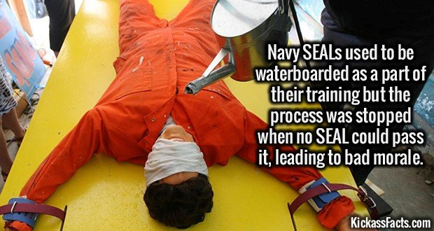 2216 Waterboarding Seals-Navy SEALs used to be waterboarded as a part of their training but the process was stopped when no SEAL could pass it, leading to bad morale.