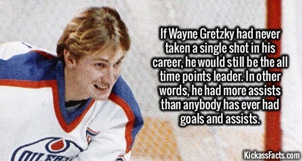 Wayne Gretzky-If Wayne Gretzky had never taken a single shot in his career, he would still be the all time points leader. In other words he had more assists than anybody has ever had goals and assists.