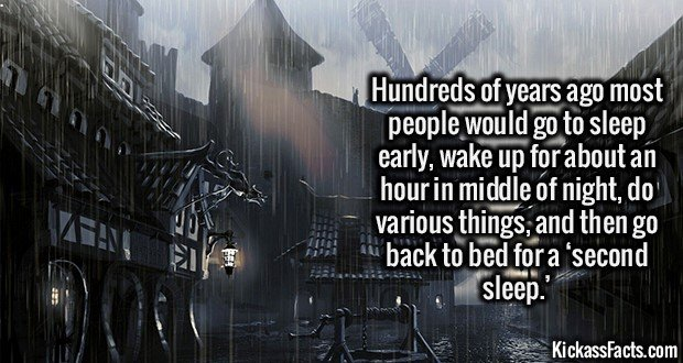 2220 Medieval Second SLeep-Hundreds of years ago most people would go to sleep early, wake up for about an hour in middle of night and do various things, and then go back to bed for a 'second sleep.'