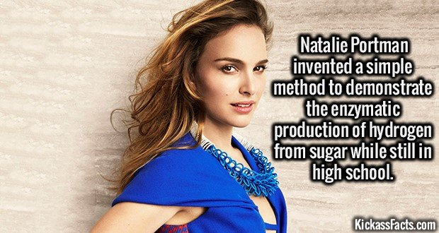 2221 Natalie Portman-Natalie Portman (the actress) invented a simple method to demonstrate the enzymatic production of hydrogen from sugar.