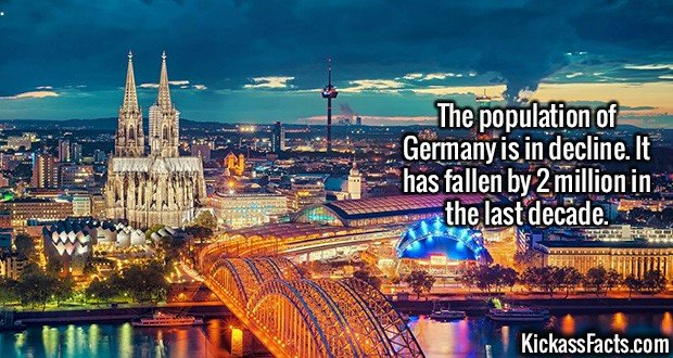 2228 Germany populatation-The population of Germany is in decline. It has fallen by 2 million in the last decade.