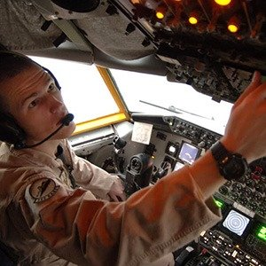 KC-135 Tanker pilot 1Lt Dustin Torbensen runs through a startup checklist prior to departing for an air refueling mission over Iraq. Lieutenant Torbensen is deployed from Grand Forks Air Force Base, North Dakota to Southwest Asia for a two-month rotation with the 379th Air Expeditionary Refueling Wing.
