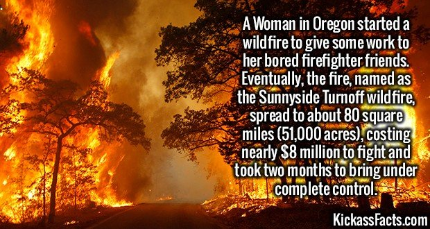 2247 Wildfire-A Woman in Oregon started a wildfire to give some work to her bored firefighter friends. Eventually, the fire, named as the Sunnyside Turnoff wildfire, spread to about 80 square miles (51,000 acres), costing nearly $8 million to fight and took two months to bring under complete control.