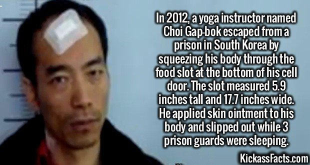 2250 Choi Gap-bok-In 2012, a yoga instructor named Choi Gap-bok escaped from a prison in South Korea by squeezing his body through the food slot at the bottom of his cell door. The slot measured 5.9 inches tall and 17.7 inches wide. He applied skin ointment to his body and slipped out while 3 prison guards were sleeping.