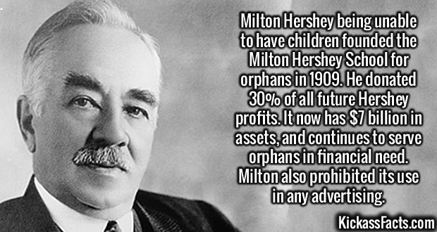 2251 Milton Hershey-Milton Hershey being unable to have children founded the Milton Hershey School for orphans in 1909. He donated 30% of all future Hershey profits. It now has $7 billion in assets, and continues to serve orphans in financial need. Milton also prohibited its use in any advertising.