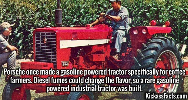 2556 Porsche Tractor-Porsche once made a gasoline powered tractor specifically for coffee farmers. Diesel fumes could change the flavor, so a rare gasoline powered industrial tractor was built.