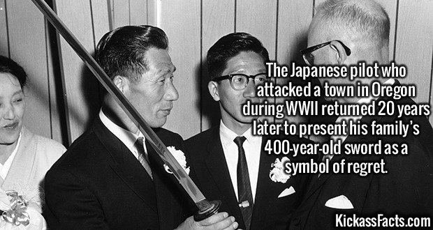 2560 Nobuo Fujita-The Japanese pilot who attacked a town in Oregon during WWII returned 20 years later to present his family's 400-year-old sword as a symbol of regret.