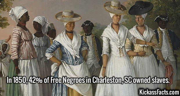 2573 Free Negroes-In 1850, 42% of Free Negroes in Charleston, SC owned slaves.