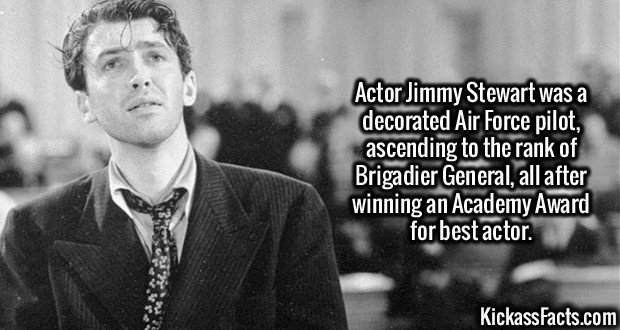 2598 Jimmy Stewart-Actor Jimmy Stewart was a decorated Air Force pilot, ascending to the rank of Brigadier General, all after winning an Academy Award for best actor.