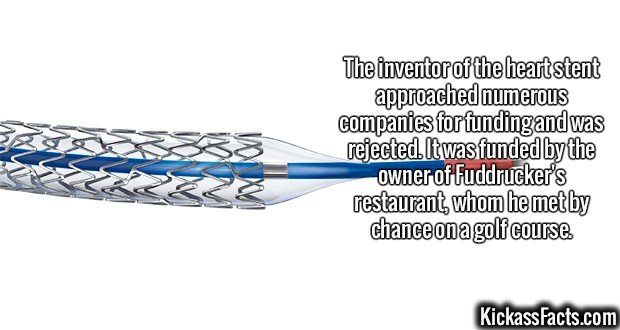 2607 Heart stent-The inventor of the heart stent approached numerous companies for funding and was rejected. It was funded by the owner of Fuddrucker's restaurant, whom he met by chance on a golf course.