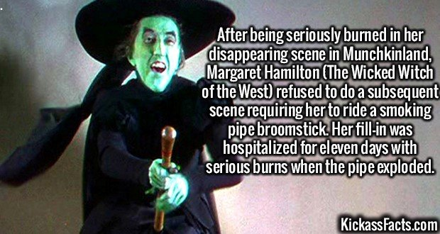 2618 Margaret Hamilton-After being seriously burned in her disappearing scene in Munchkinland, Margaret Hamilton (The Wicked Witch of the West) refused to do a subsequent scene requiring her to ride a smoking pipe broomstick. Her fill-in was hospitalized for eleven days with serious burns when the pipe exploded.