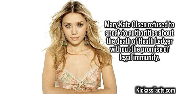 2369 Mary-Kate Olsen-Mary-Kate Olsen refused to speak to authorities about the death of Heath Ledger without the promise of legal immunity.