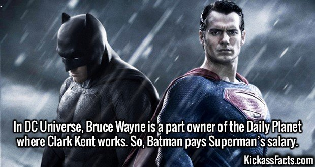 2383 Bruce Wayne vs Clark Kent-In DC Universe, Bruce Wayne is a part owner of the Daily Planet where Clark Kent works. So, Batman pays Superman's salary.