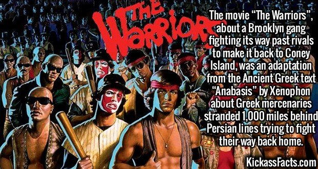 """2405 The Warriors-The movie """"The Warriors"""", about a Brooklyn gang fighting its way past rivals to make it back to Coney Island, was an adaptation from the Ancient Greek text """"Anabasis"""" by Xenophon about Greek mercenaries stranded 1,000 miles behind Persian lines trying to fight their way back home."""