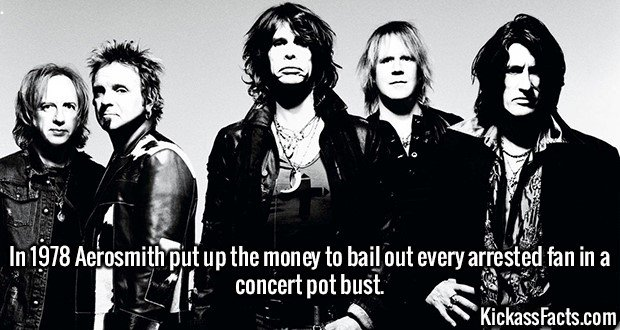 2636 Aerosmith-In 1978 Aerosmith put up the money to bail out every arrested fan in a concert pot bust.