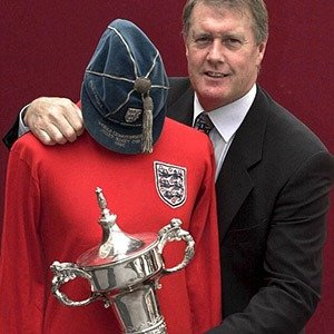 01. George Hurst with his 1966 Final Shirt, Cap, and Man of the Match Trophy