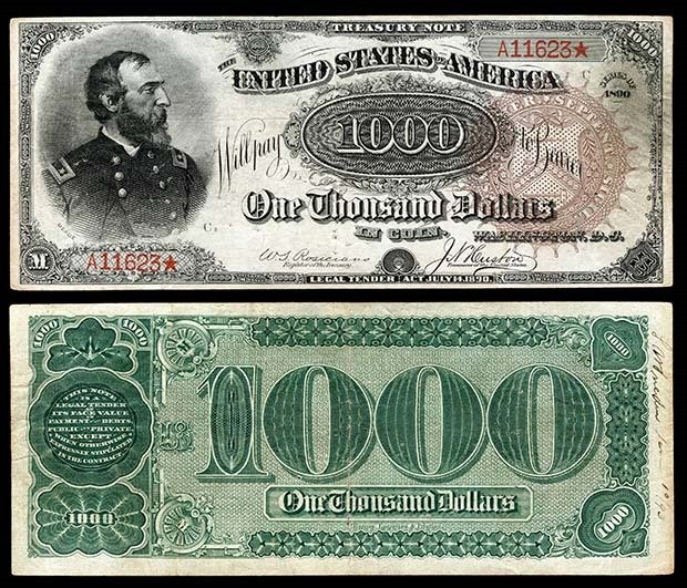19. 1890 United States Small Seal $1000 Treasury Note