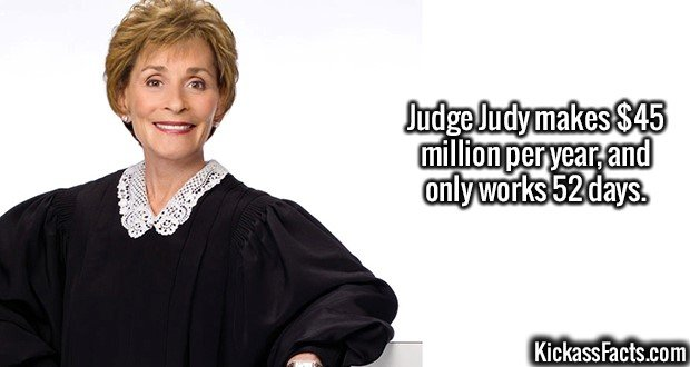 2551 Judge Judy-Judge Judy makes $45 million per year, and only works 52 days.