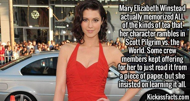2560 Mary Elizabeth Winstead-Mary Elizabeth Winstead actually memorized ALL of the kinds of tea that her character rambles in Scott Pilgrim vs. the World. Some crew members kept offering for her to just read it from a piece of paper, but she insisted on learning it all.