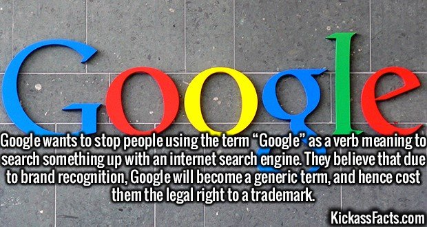 "2572 Google-Google wants to stop people using the term ""Google"" as a verb meaning to search something up with an internet search engine. They believe that due to brand recognition, Google will become a generic term, and hence cost them the legal right to a trademark."
