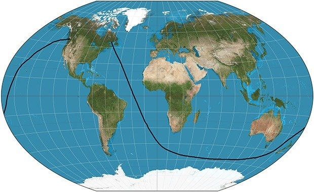 Longest straight line in the ocean without touching land 22229 first thing that comes to mind thats not a straight line well its actually not well the globe is nothing like people usually think it is gumiabroncs Images