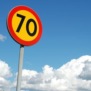 Yellow speed limit signs